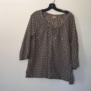 Talbots 3/4 sleeve sheer cotton top